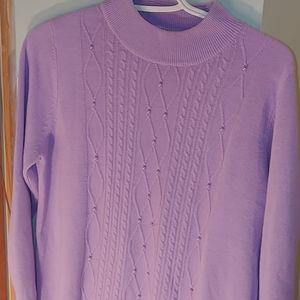 Alia Petite retro mauve & pearled knit sweater